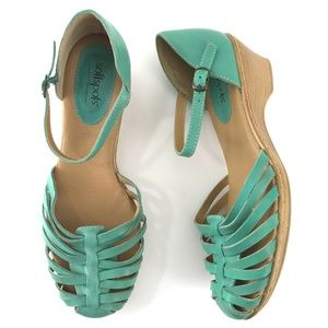 Mint Green Leather Mary Jane Sandals Like New 10